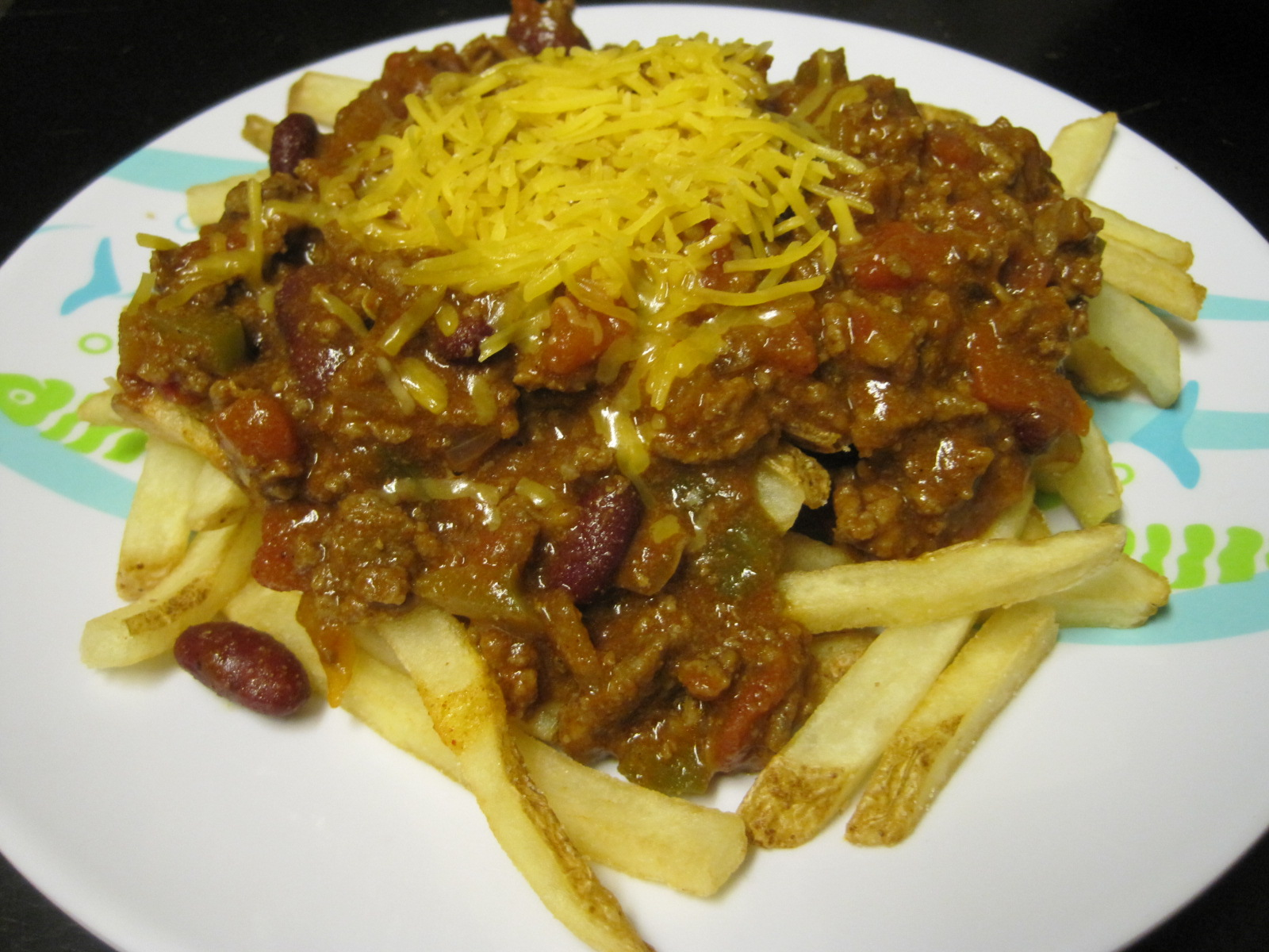 chili cheese fries closeup