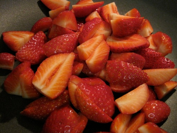 quartered strawberries
