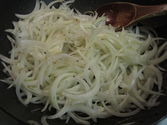 stir-frying onions
