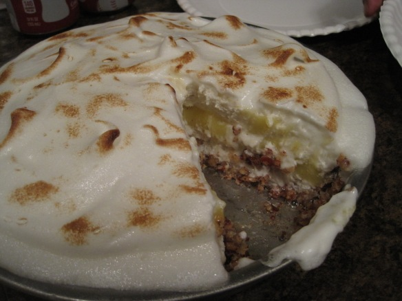 inside of lemon meringue ice cream pie