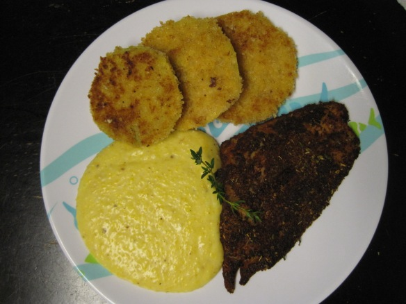 fried green tomatoes, cheezy grits and blackened fish 2