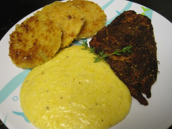 fried green tomatoes, cheezy grits and blackened fish 3