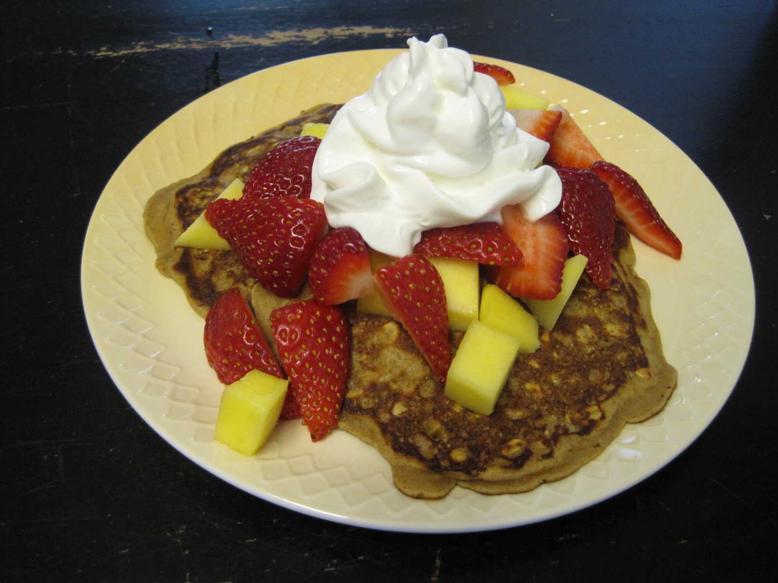 Serve with syrup, powdered sugar, honey, or fruit.